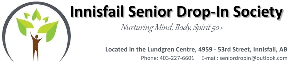Welcome to the Lundgren Centre, home to the Innisfail Seniors Drop-In Centre. Click here to send us an email.